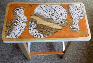 """I Have Spotted Sandpiper - 24"""" Parawood Saddle Stool"""