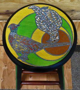 Pheasants in Mosaic Style - Alder Stool