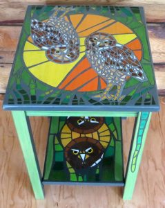 Burrowing Owls - Mosaic Interpretation Series - Small Side Table