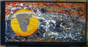 Herons Headwind - 24x48 - framed plywood canvas