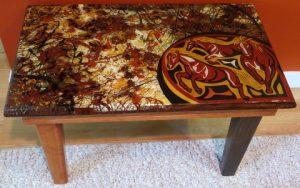 Horsin' Around - upcycled handbuilt side table