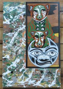 Mama Cougar Over The Moon - 36x24 - wood canvas