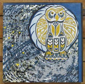 Midnight Snowy - 24 x 24 - wood canvas