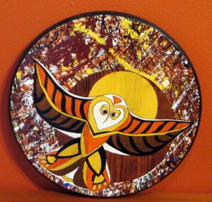 """My NW Native Abstract Expressionism Series II - Owl - 18"""" round wood"""