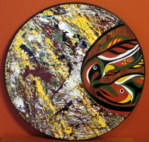 """My NW Native Abstract Expressionism Series III- Salmon - 24"""" round wood"""