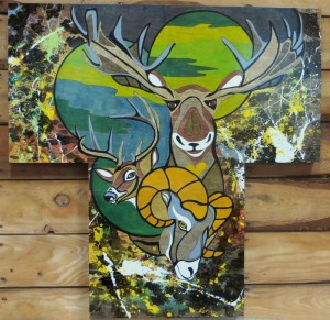 My NW Native-Pollock Inspired Series V - Adventure West - 40x40 - Wood Canvas