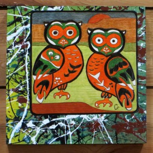 SOLD - My NW Native-Pollock Inspired Series VIII - Night Vision - 12x12 - Wood Canvas