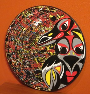 """SOLD - My NW Native Abstract Expressionism Series I - RAVEN - 24"""" round wood"""