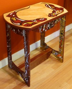 SOLD -My NW Native Otter Handcrafted Side Table measures 24 x 15x 25 high - misc wood