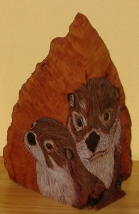 SOLD - Otters - sculpture