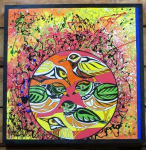 PURE JOY - Shorebirds - 24 x 24 wood canvas - mixed media