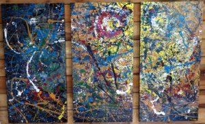 SOLD - SIBLINGS I, II, III - 24x48 each - canvas