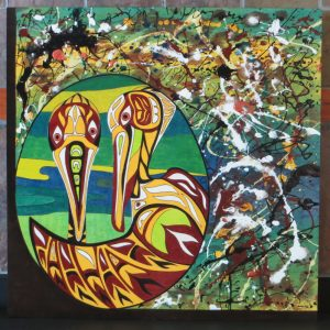 SOLD - Johnnys Pelicans - 24 x 24 - wood