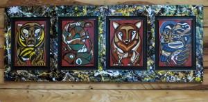 Spirit Guides - 62 x 26 - wood - wall headboard