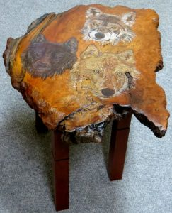 WOLVES Redwood Burl Side Table
